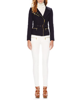 MICHAEL Michael Kors  Belted Tweed Moto Jacket & Zipper-Cuff Skinny Jeans
