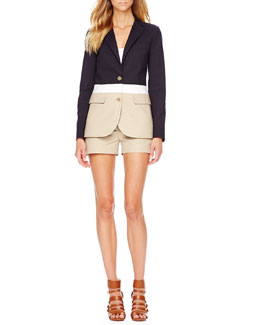 MICHAEL Michael Kors  Colorblock Twill Blazer & Two-Tone Walking Shorts