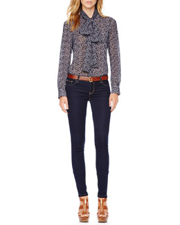 MICHAEL Michael Kors  Printed Tie-Neck Blouse & Jet Set Legging Jeans