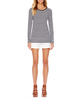 MICHAEL Michael Kors  Striped Long-Sleeve Tee & Belted Twill Shorts