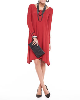 Eileen Fisher Jersey Relaxed-Fit Dress, Beaded Crochet Necklace & Leather Clutch, Women's