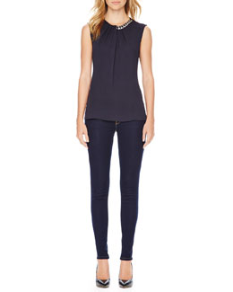 MICHAEL Michael Kors  Chain-Neck Top & Jet Set Legging Jeans