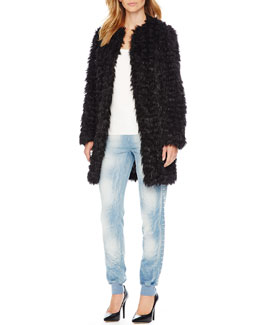 MICHAEL Michael Kors  Faux-Fur Coat & Stud-Side Ankle Pants