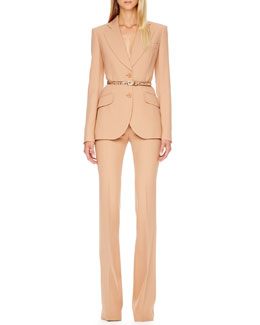Michael Kors  Two-Button Crepe Blazer, Side-Zip Crepe Pants & Python-Print Skinny Belt