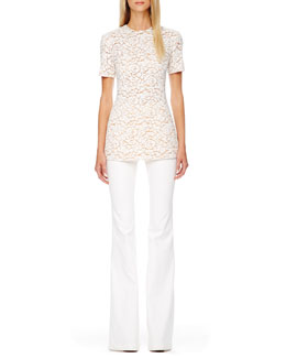 Michael Kors  Short-Sleeve Lace Top & Flared Stretch-Denim Jeans