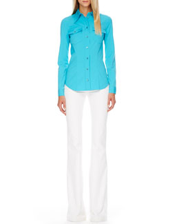 Michael Kors  Stretch Poplin Blouse & Flared Stretch-Denim Jeans