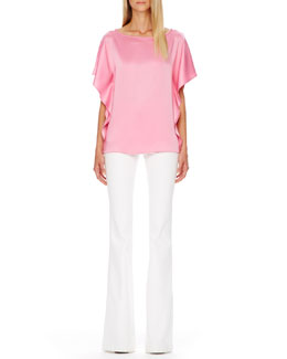 Michael Kors  Satin Flutter-Sleeve Tunic & Flared Stretch-Denim Jeans