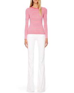 Michael Kors  Striped Cashmere Top & Flared Stretch-Denim Jeans