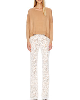 Michael Kors  Arched-Hem Knit Sweater & Floral-Lace Trousers