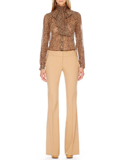 Michael Kors  Printed Bow-Neck Blouse & Flared Crepe Trousers