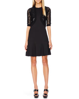 Michael Kors  Sequined Open-Knit Shrug & Flare-Skirt Dress