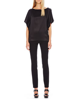 Michael Kors  Satin Flutter-Sleeve Tunic & Slim Tuxedo Pants