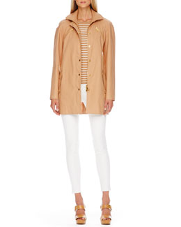 Michael Kors  Zip-Front Jacket, Striped Cashmere Top & Zip-Pocket Skinny Jeans