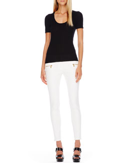 Michael Kors  Scoop-Neck Cashmere Top & Zip-Pocket Skinny Jeans