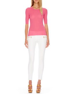 Michael Kors  Ribbed Cashmere Top & Zip-Pocket Skinny Jeans