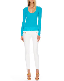 Michael Kors  Scoop-Neck Cashmere Sweater & Zip-Pocket Skinny Jeans