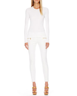 Michael Kors  Long-Sleeve Cotton Tee & Zip-Pocket Skinny Jeans