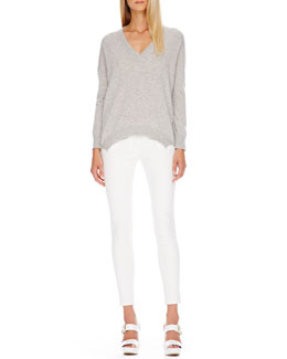 Michael Kors  Cashmere V-Neck Tunic & Zip-Pocket Skinny Jeans