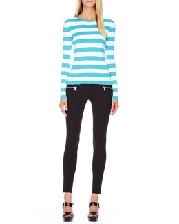 Michael Kors  Striped Cotton Tee & Stretch-Cotton Skinny Pants