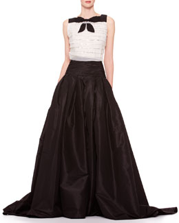 Carolina Herrera Sleeveless Tiered Bow Top & Long A-Line Silk Skirt