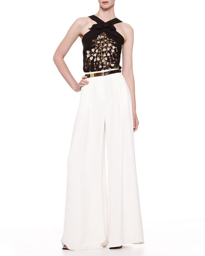Carolina Herrera Beaded Crisscross Halter Top, Silk Crepe Wide-Leg Pants & Golden Plated Leather Belt