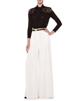 Carolina Herrera Lace-Yoke Tie-Neck Blouse & Silk Crepe Wide-Leg Pants