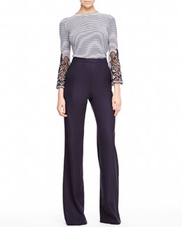 Carolina Herrera Cutout-Sleeve Striped Top & Heather Tropical Wool Pants