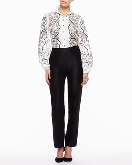 Carolina Herrera Floral Full-Sleeve Blouse & Skinny Trouser Pants