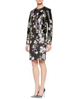 Erdem Jade Shrunken Biker Jacket & Marta Short-Sleeve Dress