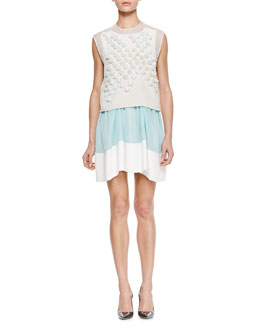3.1 Phillip Lim Sleeveless Dandelion Crop Top & Colorblock Umbrella Skirt