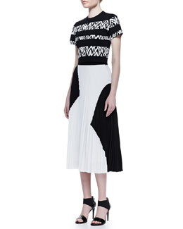 Proenza Schouler Short-Sleeve Abstract-Stripe Top and Two-Tone Pleated Midi Skirt