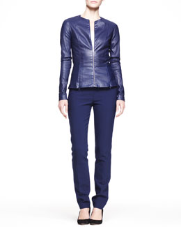 THE ROW Shiny Leather Peplum Jacket & Straight-Leg Scuba Pants