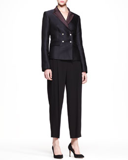 THE ROW Double-Breasted Bicolor Blazer and Cropped Wide-Leg Pants