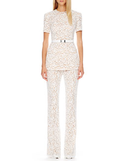 Michael Kors  Arched-Hem Knit Sweater, Smooth Leather Belt & Floral-Lace Trousers