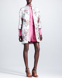 Valentino Floral Embroidered Coat, Marocain Silk Tie-Neck Blouse & Shorts