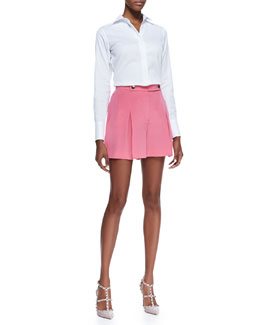 Valentino Poplin Hidden-Placket Blouse and Marocain Silk Shorts