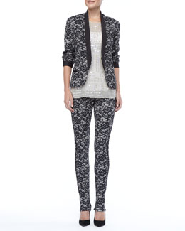 Nicole Miller Fitted Delicate Lace Jacket, Jewel-Neckline Sequin Top &  Lace Skinny Pants