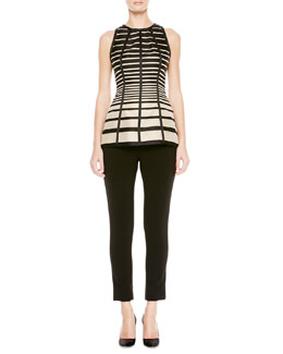 Lela Rose Striped Seamed Halter Blouse and Catharine Cropped Pants