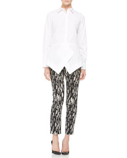 Lela Rose Asymmetric Peaked-Peplum Blouse and Caroline Printed Ankle Pants
