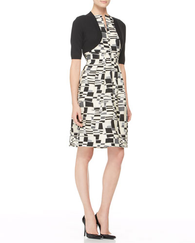 Lela Rose Classic Half-Sleeve Shrug and Split-Front Jacquard Sheath