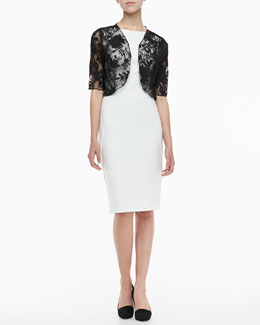 Lela Rose Lace Bolero & Sleeveless Boat-Neck Sheath Dress