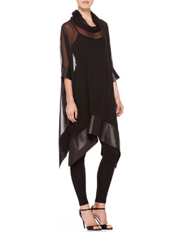 Ralph Lauren Collection Maxine Leather-Hem Tunic, Silk-Jersey Camisole & Silk-Jersey Leggings