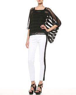Ralph Lauren Sheer Striped Drape Top, Scoop-Back Tank & Side-Stripe Cropped Jeans