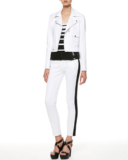 Ralph Lauren Side-Buckle Moto Jacket, Sequined Stripe Tank & Side-Stripe Copped Jeans