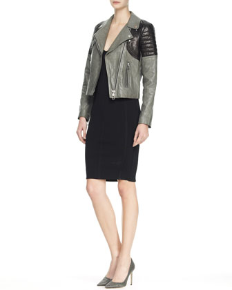 Sleeveless Plunging Sheath Dress & Two-Tone Leather Moto Jacket