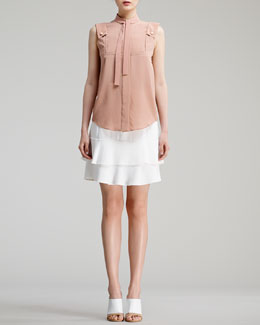Chloe Sleeveless Silk Crepe de Chine Blouse & Ruffle-Hem Cady Skirt