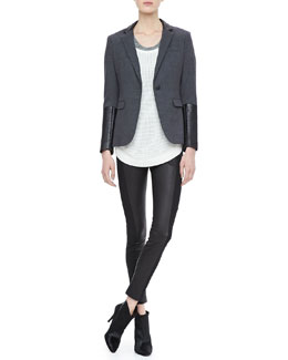 Rag & Bone Leather-Sleeve Blazer, Mesh Knit Pullover, Heathered Tank & Paneled Leather Leggings