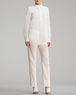 Chloe Button-Front Eyelet Blouse & Straight-Leg Trousers