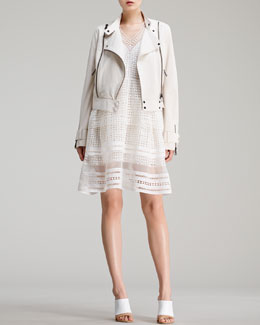 Chloe Lightweight Lambskin Leather Jacket & Diamond-Lace Dress