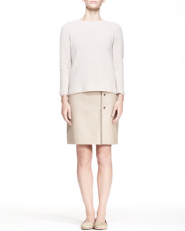 THE ROW Crewneck Pullover Sweater and Button-Side Leather Skirt
